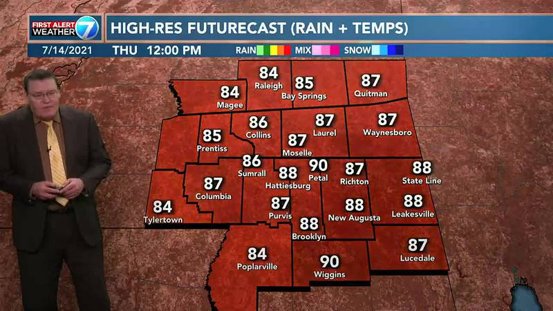 There is a 30% chance for an isolated shower or thunderstorm Thursday with highs around 90 and...
