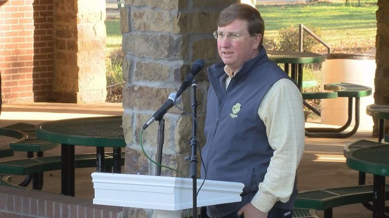 Governor Tate Reeves addresses people in Lucedale about the damage caused by Hurricane Zeta.