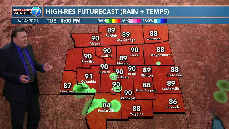 On Tuesday, you can expect hot weather again with highs in the mid 90s with a 20% chance for...