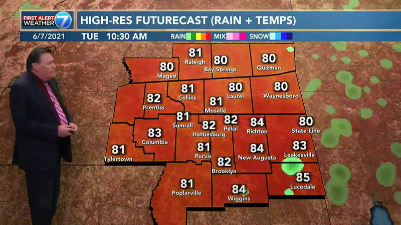 For Tuesday, look for a 60% chance for showers and thunderstorms with highs in the upper 80s...