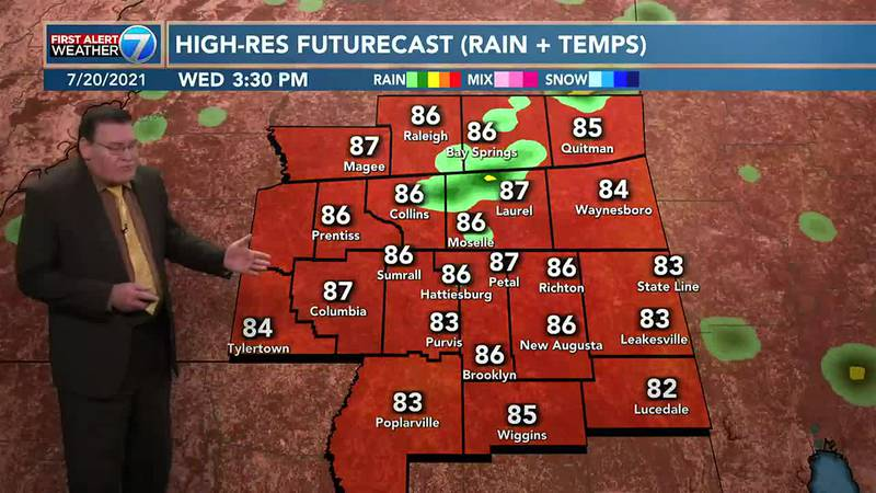 On Wednesday you can expect another good chance for showers and thunderstorms with highs in the...