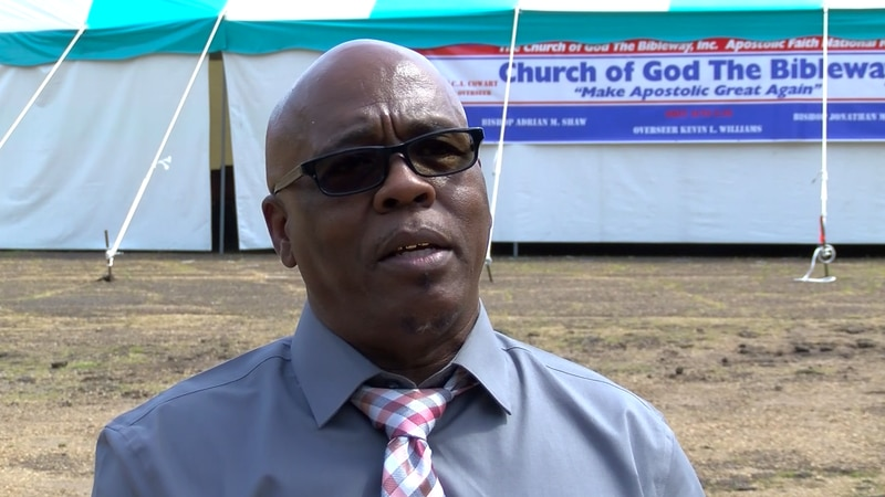 Elder Ronnie Upshaw speaks about being held up Friday night outside a tent revival in South...