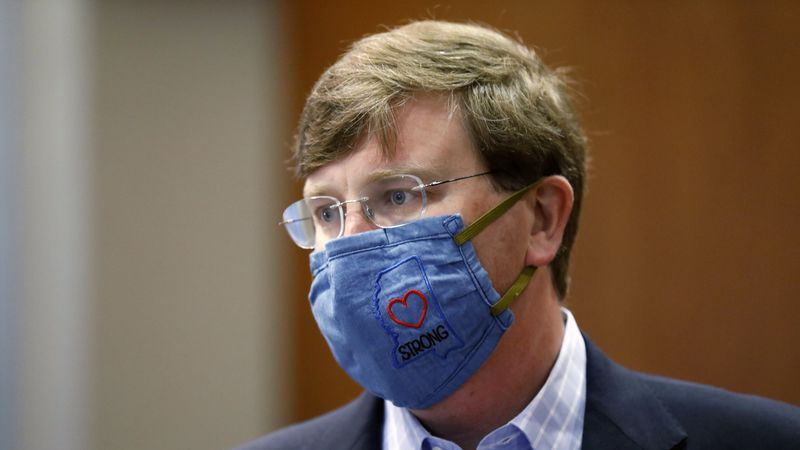 """Gov. Tate Reeves sports a """"Mississippi Strong"""" face mask following his coronavirus news..."""