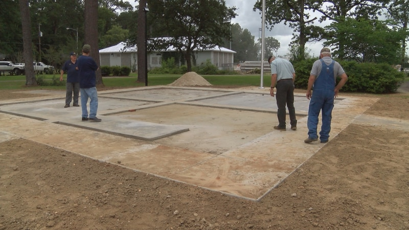 The foundation for a veterans monument in Columbia is made of 2 1/2 feet of reinforced concrete.