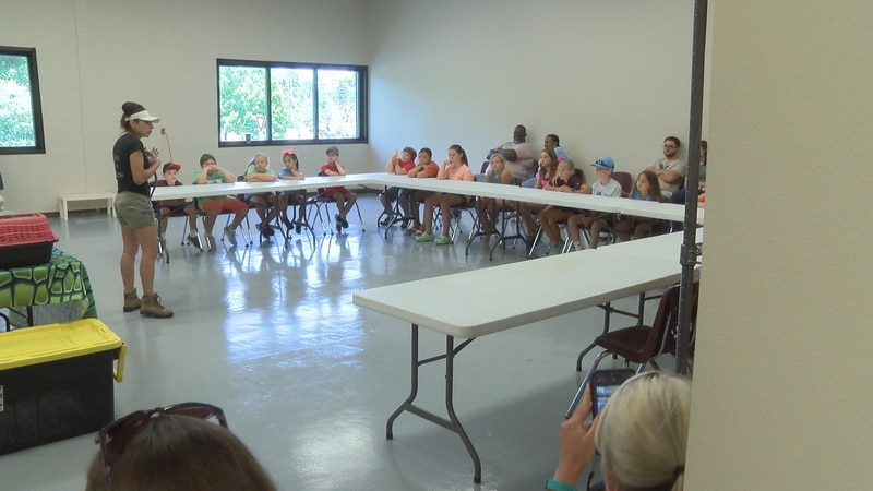 """Campers at PRCC's """"Kids College"""" view a presentation from the Safari Tails organization..."""