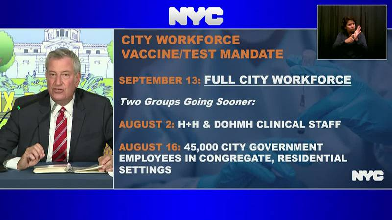 NYC Mayor de Blasio requires all city employees to be vaccinated or get tested once a week for...