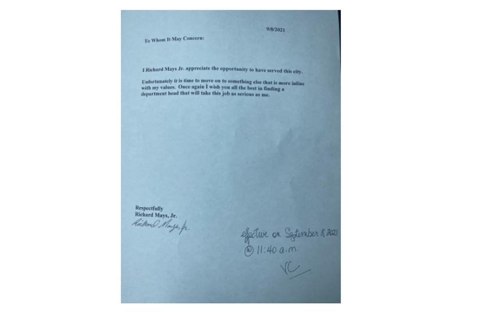 Richard Mays' letter of resignation