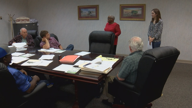 Rosie Jackson (center) and Clancy Sanford (top right) speak to Covington County supervisors...