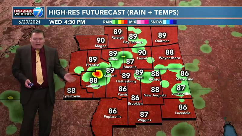 Wednesday, you can expect a 40% chance for mainly afternoon and early evening showers and...