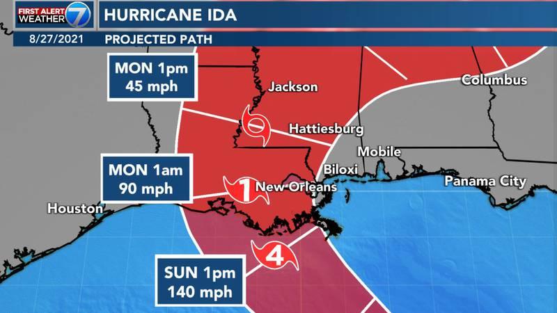 Ida is forecast to make landfall as a Category 4 hurricane.