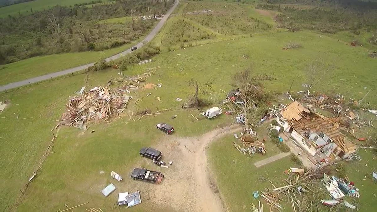 Skyview 7 shows damage from Sunday's storm in Seminary.