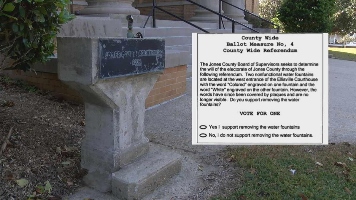 In November, Jones County voters will decide the fate of the once-segregated water fountains...